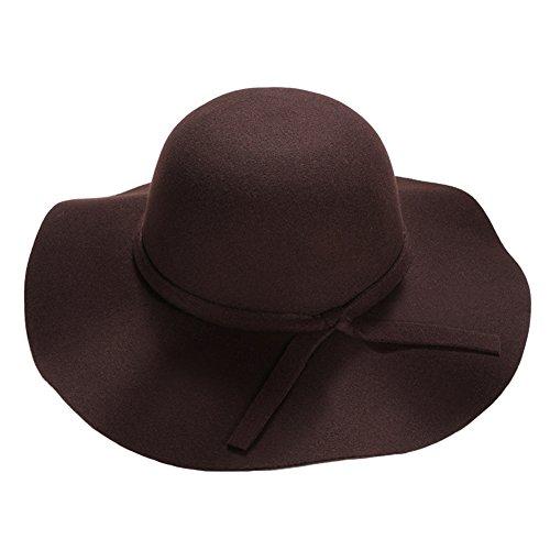 Itopfox Women's Vintage Felt Hat Sun Protection Floppy Big Brim Bowler Hat (Adjustable Home Wool Cap)