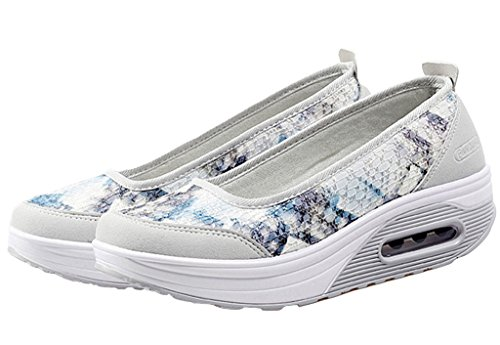 Shoe Slip Summer Soles Floral Women's Boat Loafers Grey Casual Thick On Increased Platform Sneakers GFONE Wedge Flower qRfxwnnO6