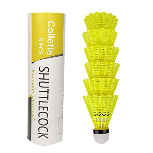 Colletia Badminton Shuttlecocks 6-Pack Nylon Shuttlecocks Birdies Balls High Speed Badminton Balls with Great Durability Stability Suitable for Indoor Outdoor Sports Training Tube of 6