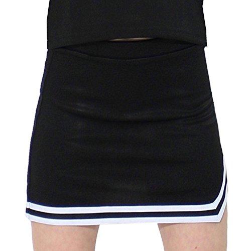 Danzcue Girls Double V A-Line Cheer Uniform Skirt, Black/White, X-Small