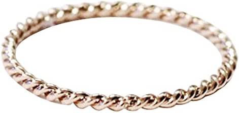 14K Twisted Band Rope Ring - Rose Gold / White Gold Plated