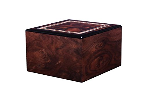Chateau Urns Dark Burl Wood Urn with Handmade Inlay, Adult Cremation Urn, Amboise Large by Chateau Urns