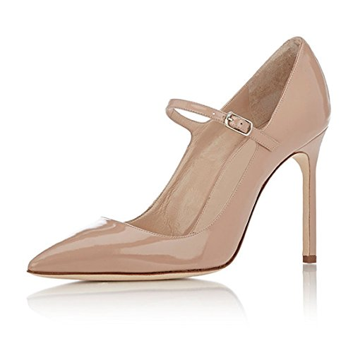 Jane Court Womens Beige 10CM Stilettos Shoes Office Mary High Heel Soireelady Pumps xwgCBqR4x