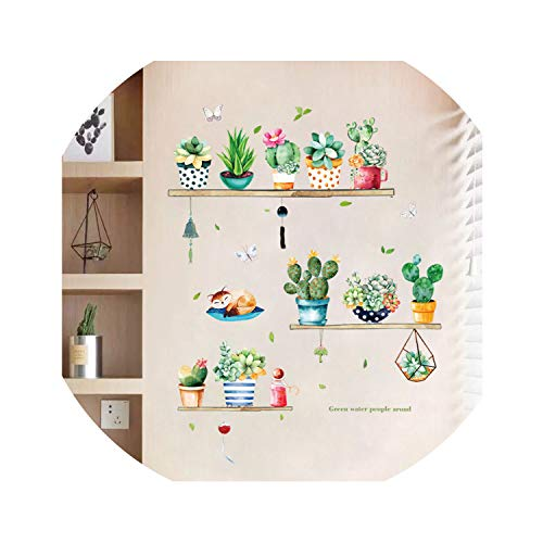 Nordic ins Beautiful Cactus Potted Wall Sticker Green Succulent Garden Home Decor Living Room Wardrobe Porch self-Adhesive Decal,Hamah 1007