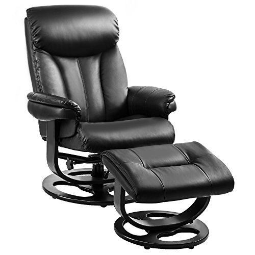 gns Black Pu Leather Leisure Recliner with Ottoman Swivel Lounge Living Room Furniture Set, Espresso and wood base (Recliner Ottoman Set)