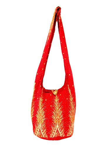 Peacock Feather Thai Hippie Hobo Cotton Print Crossbody Sling Bag (Strawberry Red)