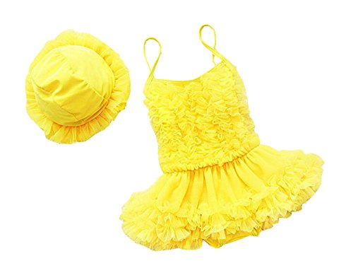 Taiycyxgan Girls Princess Lace Layer Swimsuit TuTu Dress One-Pieces Swimwear Tankini Yellow M