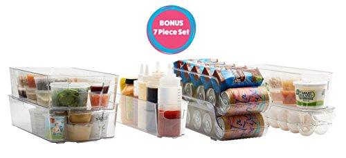 7-Restore Refrigerator and Freezer Storage Bin Set with Handles | Household and Kitchen Organization | High Quality Heavy Duty Plastic | BPA-Unfasten