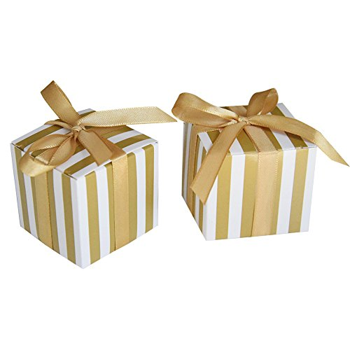 Gold Favor Boxes - Amajoy 50PCS Stripes Design Favor Box,Wedding Candy Box,Baby Shower Box,Baby Design Chocolate Box,Birthday Party Supplies (Gold)