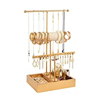 handrong Jewelry Tree Stand 3 Tier Jewelry Holder Gold Necklace Holder Display Earring Stand Ear Stud Holder Tabletop Bracelet Holder Jewelry Towers Organizer for Women Girls Home Use