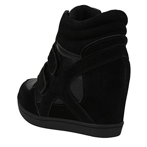 Basic Sneaker napoli fashion Bequeme Damen Sneakers Jennika Wedges Sportliche Schwarz wtfIFfqH