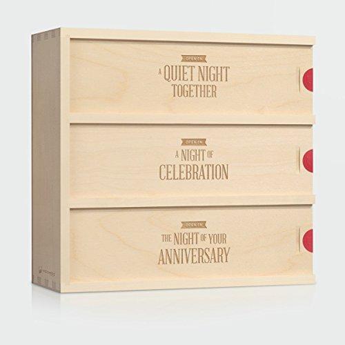 Wedding Wine Box - Three Nights // Unique Wedding Gift for the Couple - Patented WineforaWedding® Anniversary Wine Box - 3-Bottle Wine Box