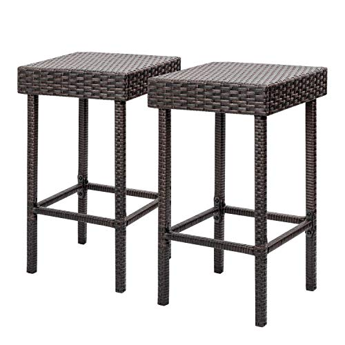 Flamaker Brown Wicker Barstool Outdoor Patio Furniture Bar Stools Set of 2 Height Bar Chairs Hig ...