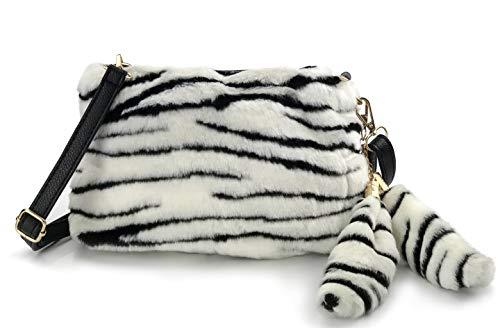 Hoxis Faux Fur Furry Crossbody Shoulder Handbag Clutch Purse with Pom Tail Keychian (Zebra)