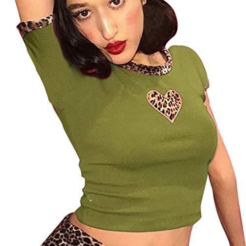 Sunhusing Women's Round Neck Short-Sleeve T-Shirt Love Heart Leopard Print Colorblock Short Crop Tops Green