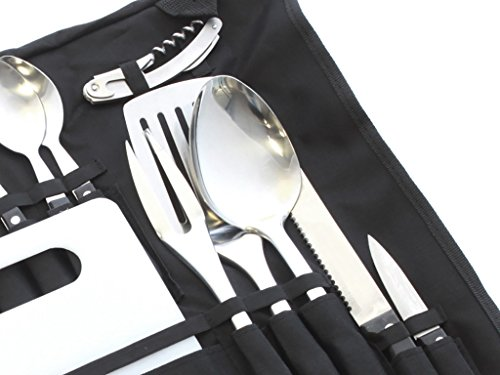 Camp Kitchen Stainless Steel Utensil Set with Canvas Wrap Tote Bag by Front Runner