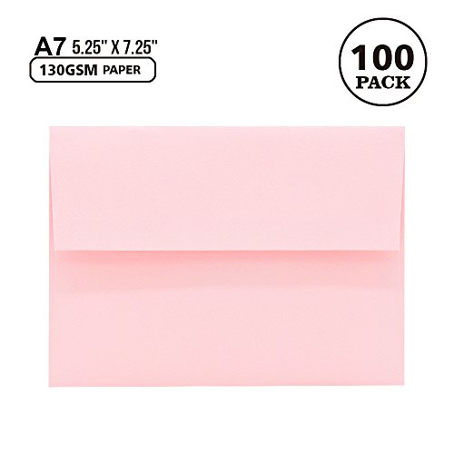A7 Pink Invitation 5x7 Envelopes - Self Seal, Square Flap,Perfect for Baby Shower, 5x7 Cards, Weddings, Birthday, Invitations, Graduation, 5.25 x 7.25 inches, 100 Pack, (Pink) by AZAZA