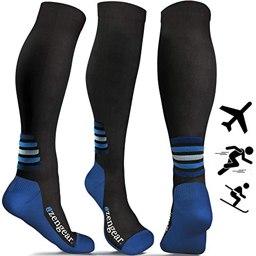 aZengear Flight Compression Socks - Running, Athletics, Cycling, Travel, Blue S/M