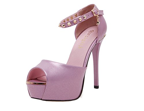 YE Damen Elegant Peep Toe High Heels Plateau Sandalen Stiletto Ankle Strap  Pumps mit 12cm Absatz