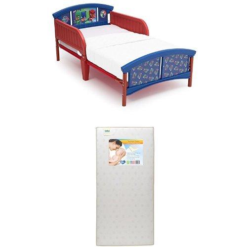 Delta Children Plastic Toddler Bed, PJ Masks with Twinkle Stars Crib Toddler Mattress