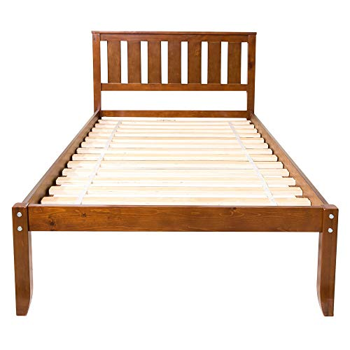 Wood Platform Bed Twin Bed with Headboard and Wood Slat Support (Walnut A)