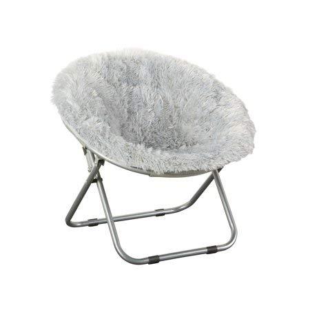 Phenomenal Folding Chair Soft Wide Seat Faux Fur Plush Kids Blair Saucer In Gray Theyellowbook Wood Chair Design Ideas Theyellowbookinfo