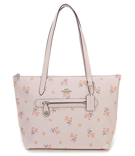 Coach Taylor with Floral Bow Print Tote. Silver/Ice Pink