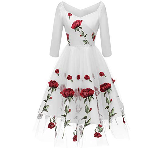 Women's Vintage Off Shoulder Rose Embroidered Flower 1950s Evening Prom Party Dress Retro Rockabilly 3/4 Sleeves Tulle Lace Wedding Formal Gown Cocktail A Line Midi Swing Dress White Large