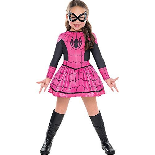 Costumes USA Pink Spider-Girl Costume for Girls, Size Small, Includes a Bright Pink and Black Dress and a Black Mask -