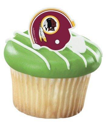 NFL Washington Redskins Football Helmet Cupcake Rings - 24 pcs ()