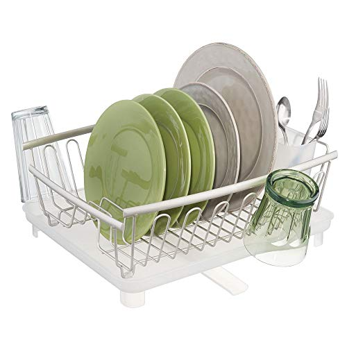 mDesign Large Modern Kitchen Countertop, Sink Dish Drying Rack - Removable Cutlery Tray & Drainboard with Adjustable Swivel Spout - 3 Pieces - Satin Wire/Clear Frost Cutlery Caddy, Drainboard