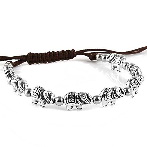 HZMAN Vintage Style Silver Plated Alloy My Lucky Elephant Bracelet, Resizable