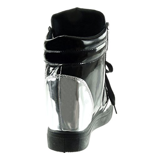 Angkorly Talon Mode CM Basket Verni Chaussure Femme Matelassé Compensée Compensé 7 Montante 77rHq