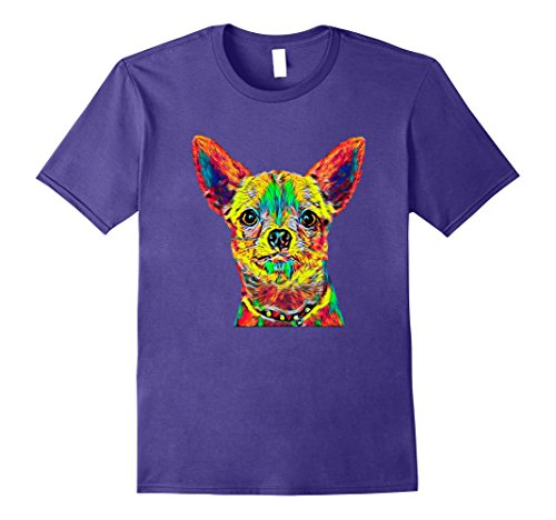 Mens Cute Chihuahua Breed Dog Face T Shirt Party Fun XL Purple (Chihuahua Face T-shirt)