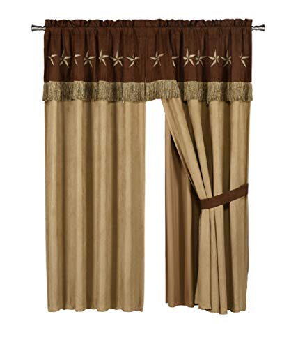 - Chezmoi Collection 4 Pieces Western Star Embroidery Design Microsuede Window Curtain/Drape Set Sheer Backing,Tassels, Valance (Curtain Set, Brown/Coffee)