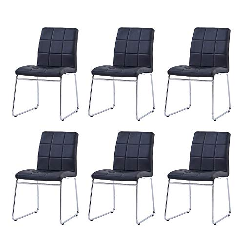 Enjowarm Dining Chairs Set of 6 Modern Mid Century Living Room Side Chairs with Faux Leather Padded Seat,Kitchen Chairs with Sturdy Metal Legs for Home Kitchen Office Waiting Room