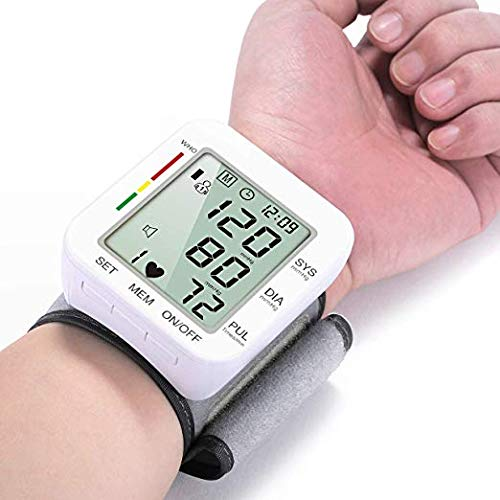 Hong S Automatic Wrist Blood Pressure Cuff Monitor Voice Broadcast Clinical High Blood Pressure Monitors Portable Large LCD Screen Irregular Heartbeat Monitor Powered by Battery