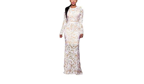 La Vogue Vestido de Fiesta Mujer Boda Largo Manga Encaje Blanco: Amazon.es: Ropa y accesorios