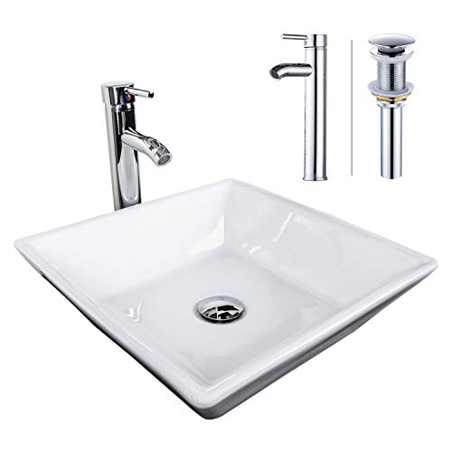 - ELECWISH Bathroom Vessel Sink with Faucet Combo with Overflow Ceramic Round Bowl (Square white)