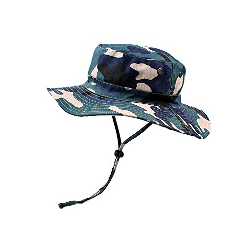 KASULAR Unisex Children Outfit Men&Women Outdoor Bucket Hat Summer Sun Protection Cap for Travel Fishing Hunting Hiking (Blue, 22.8inches)]()
