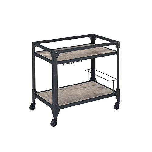"""Major-Q 31"""" H Industrial Style Rectangular Rustic Oak Finish Wooden 2 Shelves Serving Cart with 4 Caster Wheels and Wine Bottle Storage Included, 9098355"""