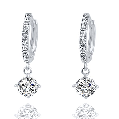 ANJUNIE 1 Pair Women Fashion Crystal Dangle Rhinestone Ear Wedding Party Stud Earrings Crystal Studded Puffy Heart