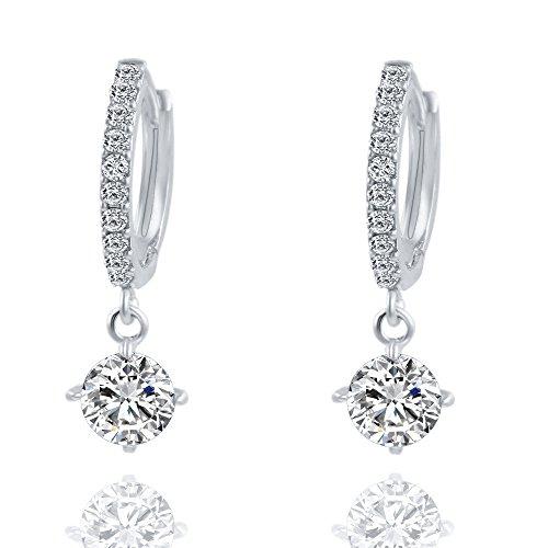Women Earrings, Paymenow 2018 New Girls Rhinestone Crystal Women Girls Bridal Wedding Appointment Gift Circle Hoops Earrings Fashion Earrings Jewelry (Silver)