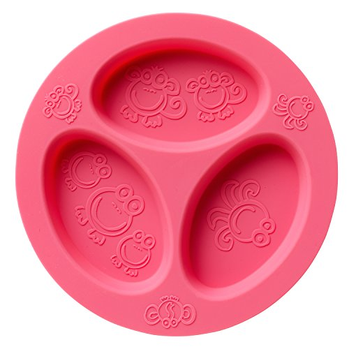Silicone Baby & Toddler Divided Plate. Safe for Oven, Microwave, Dishwasher, Freezer and Boil Safe! Pink