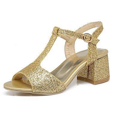 LvYuan Tacón Robusto-Zapatos del club-Sandalias-Vestido Informal Fiesta y Noche-Purpurina Materiales Personalizados-Rosa Rojo Plata Oro Pink