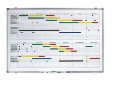 Jahresplaner - BxH 900 x 600 mm mit Halbjahres- und 365-Tage-Einteilung - Infotafel Magnettafel Magnetwand Planungstafel Präsentationstafel Schreibtafel Tafel Wandtafel Whiteboard