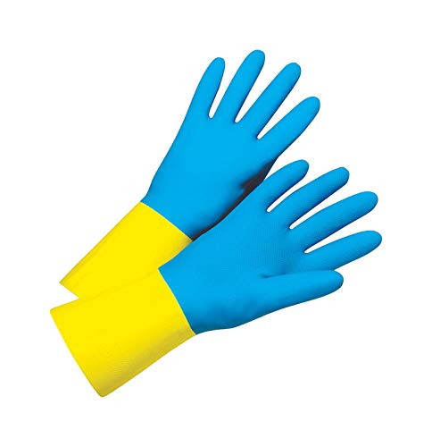 - West Chester 00134 Latex Unsupported Flock Lined Cleaning Glove, Neoprene Coated, Work, Beaded Cuff, 28 mil Thickness, 13