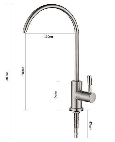 Lead Free Beverage Water Faucet, Kitchen Sink Faucet Beverage Faucet Reverse Osmosis Faucet for Drinking Water Purifier Filter Filtration System,1/4-Inch Tube, Brushed Stainless Steel by Malida (Image #3)