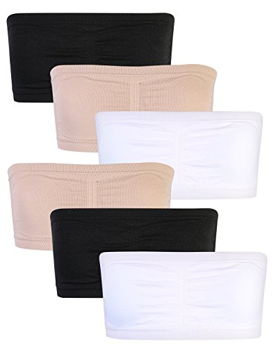 Sweet & Sassy Girl\'s 6 Pack Seamless Bandeau Bra, Nude/Black/White, Medium/32A' for $<!--$29.99-->