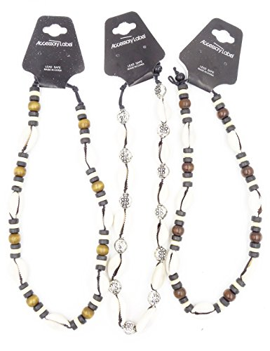 - New 3 Piece Cowrie Shell & Coco Bead Surfer Style Necklace Lot